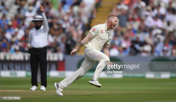 England bowler Ben Stokes celebrates after taking the wicket of India batsman Mohammed Shami during day 4 of the First Specsavers Test Match between...