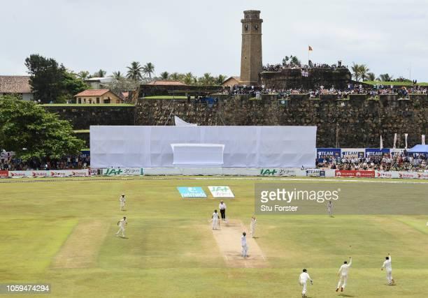 England bowler Ben Stokes celebrates with team mates after dismissing Sri Lanka batsman Dhananjaya de Silva caught by Joe Root during Day Four of the...
