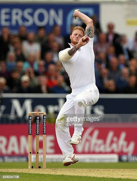 England bowler Ben Stokes in action during day two of the 1st Investec Test match between England and Sri Lanka at Headingley on May 20 2016 in Leeds...