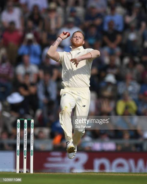 England bowler Ben Stokes in action during day two of the 4th Specsavers Test match between England and India at The Ageas Bowl on August 31, 2018 in...