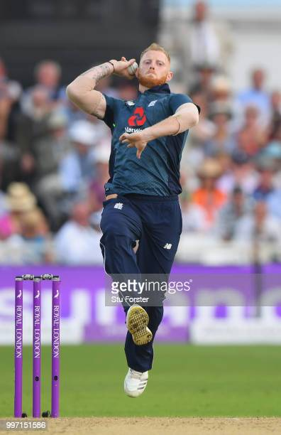 England bowler Ben Stokes in action during the 1st Royal London One Day International match between England and India at Trent Bridge on July 12 2018...