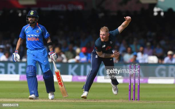 England bowler Ben Stokes in action during the 2nd ODI Royal London One Day International match between England and India at Lord's Cricket Ground on...