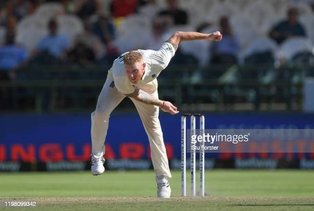 England bowler Ben Stokes in bowling action during Day Five of the Second Test between South Africa and England at Newlands on January 07, 2020 in...