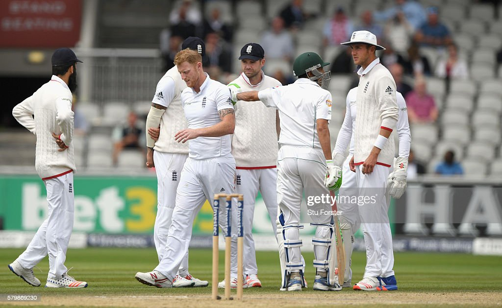England bowler Ben Stokes leaves the field with an injury during day four of the 2nd Investec Test match between England and Pakistan at Old Trafford on July 25, 2016 in Manchester, England.