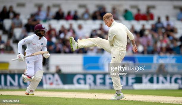 England bowler Ben Stokes reacts as Shai Hope picks up some runs during day two of the 2nd Investec Test match between England and West Indies at...