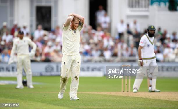 England bowler Ben Stokes reacts during day three of the 2nd Investec Test match between England and South Africa at Trent Bridge on July 16 2017 in...