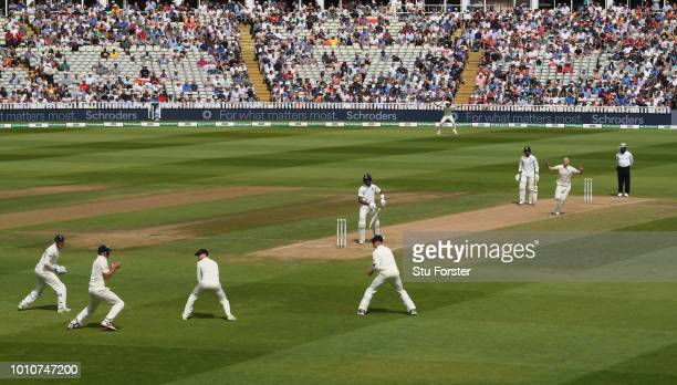 England bowler Ben Stokes takes the final wicket of India batsman Hardik Pandya caught by Alastair Cook during day 4 of the First Specsavers Test...