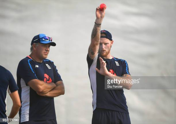 England bowler Ben Stokes with fast bowling coach Chris Silverwood during England nets at Eden Park on March 20 2018 in Auckland New Zealand