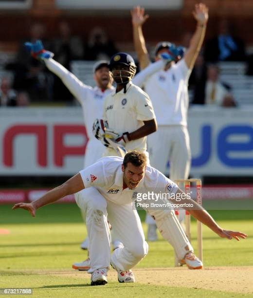 England bowler Chris Tremlett appeals unsuccessfully for the wicket of India's Abhinav Mukund during the 1st Test match at Lord's cricket ground in...