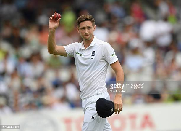 England bowler Chris Woakes acknowledges the applause after taking 11 wickets in the match during day four of the 1st Investec Test match between...