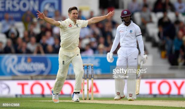 England bowler Chris Woakes appeals in vain for the wicket of Shai Hope during day two of the 2nd Investec Test match between England and West Indies...