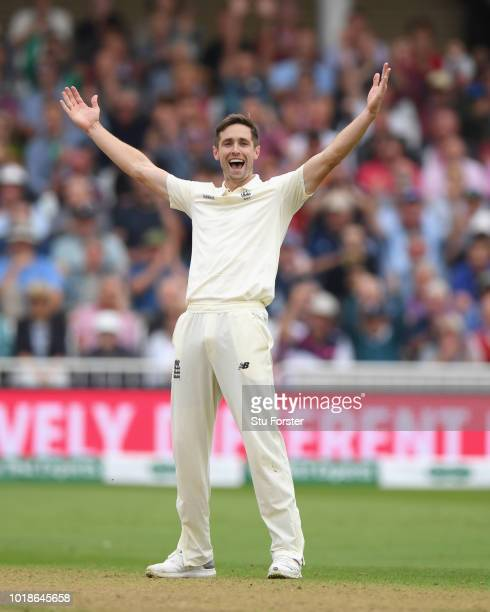 England bowler Chris Woakes celebrates after dismissing Cheteshwar Pujara during day one of the 3rd Specsavers Test Match between England and India...