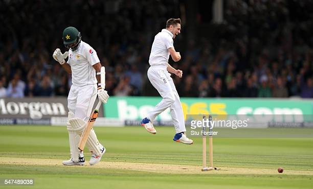 England bowler Chris Woakes celebrates after dismissing Pakistan batsman Wahab Riaz during day two of the 1st Investec Test match between England and...