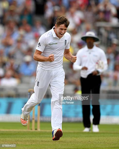 England bowler Chris Woakes celebrates after dismissing Pakistan batsman Mohammad Hafeez during day two of the 2nd Investec Test match between...