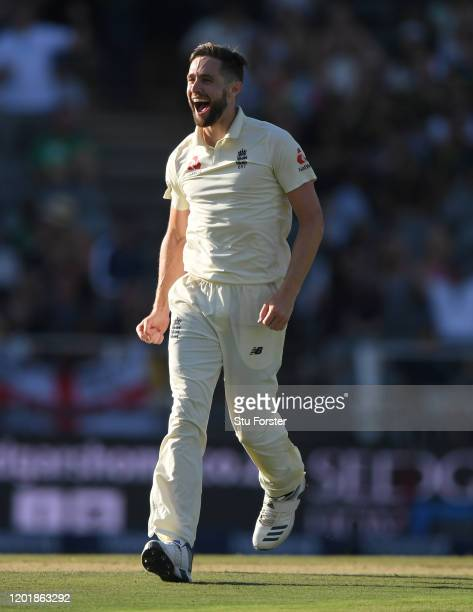 England bowler Chris Woakes celebrates after taking the wicket of Faf du Plessis after review during Day Two of the Fourth Test between South Africa...