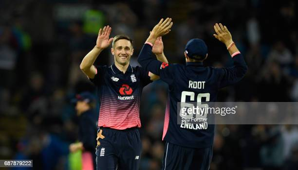 England bowler Chris Woakes celebrates with Joe Root after taking the final South Africa wicket to win the match by 72 runs during the 1st Royal...