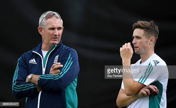 England bowler Chris Woakes chats with former fast bowler Andrew Caddick during England nets at Edgbaston on August 1 2016 in Birmingham England