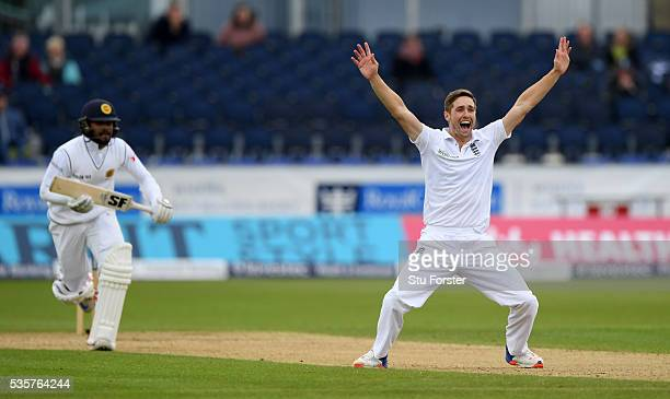 England bowler Chris Woakes has an lbw appeal turned down against Sri Lanka batsman Dinesh Chandimal during day four of the 2nd Investec Test match...