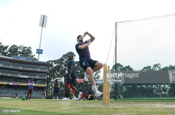 England bowler Chris Woakes in action as Jofra Archer looks on during England nets at The Wanderers ahead of the 4th and final Test Match on January...