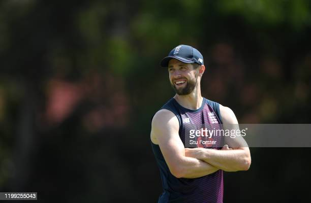 England bowler Chris Woakes looks on during England nets at St George's Park on January 13, 2020 in Port Elizabeth, South Africa.