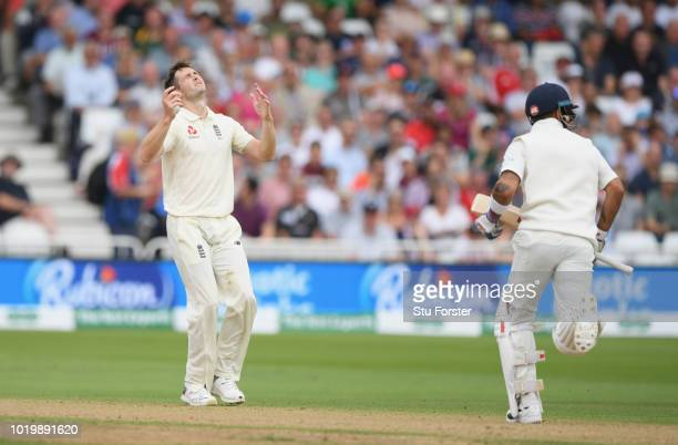 England player Jos Buttler keeps wicket after an injury to Jonny Bairstow during day four of the 3rd Test Match between England and India at Trent...