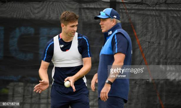 England bowler Chris Woakes with fast bowling coach Chris Silverwood during nets ahead of the 2nd ODI at the Bay Oval on February 27 2018 in Tauranga...