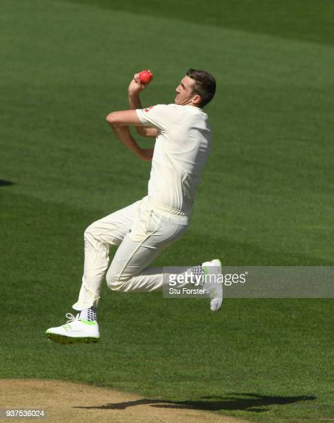 England bowler Craig Overton in action during day four of the First Test Match between the New Zealand Black Caps and England at Eden Park on March...