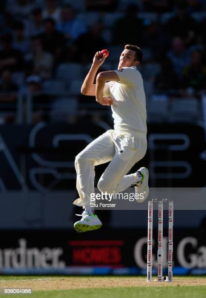 England bowler Craig Overton in action during the First Test Match between the New Zealand Black Caps and England at Eden Park on March 22 2018 in...