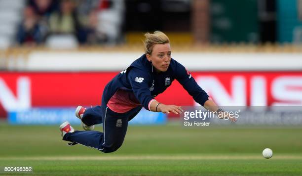 England bowler Danielle Hazell in action during the ICC Women's World Cup 2017 match between England and India at The 3aaa County Ground on June 24...