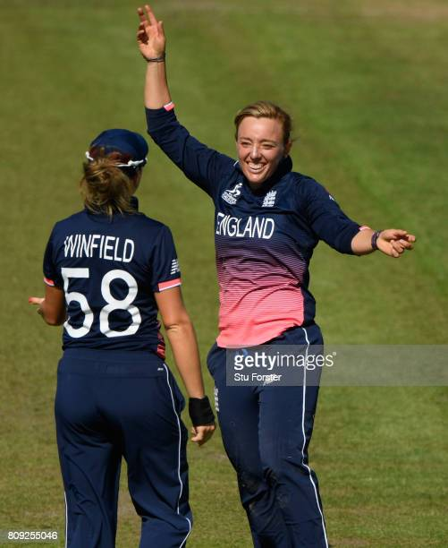 England bowler Danielle Hazell reacts after taking a wicket during the ICC Women's World Cup 2017 match between England and South Africa at The...