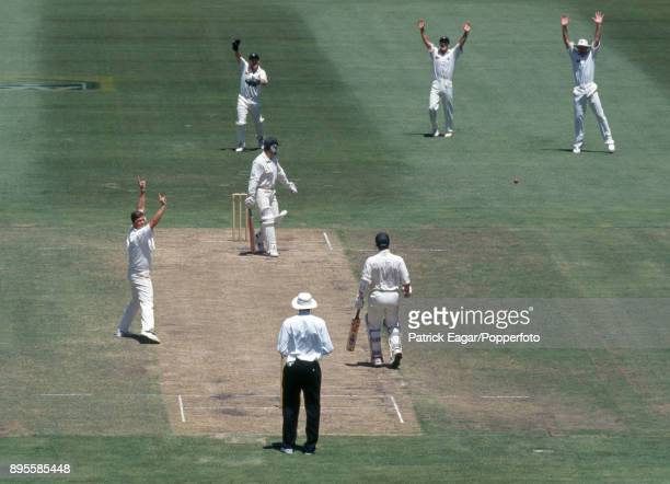 England bowler Darren Gough appeals successfully for the wicket of Australia's captain Mark Taylor out LBW for 19 in the 2nd Test match between...