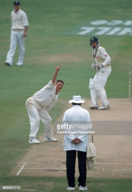 England bowler Darren Gough appeals unsuccessfully for the wicket of South African batsman Shaun Pollock on the final day of the 5th Test match...