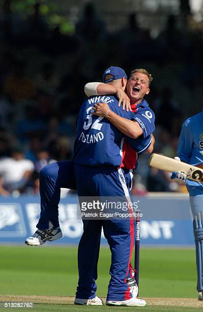 England bowler Darren Gough celebrates his 200th ODI wicket for England during the NatWest Challenge One Day International between England and India...