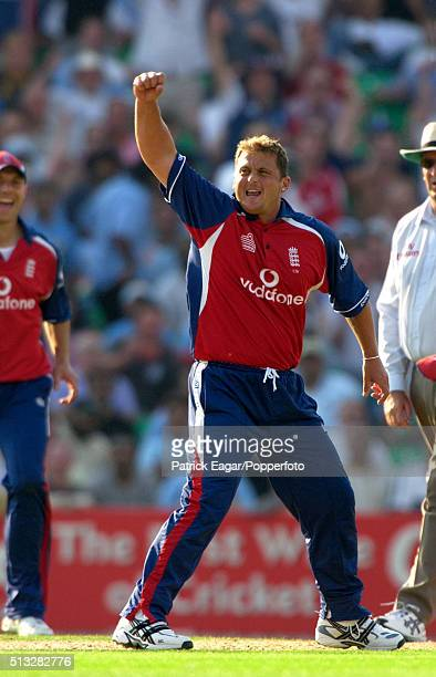 England bowler Darren Gough celebrates one of his four wickets during the NatWest Challenge One Day International between England and India at The...
