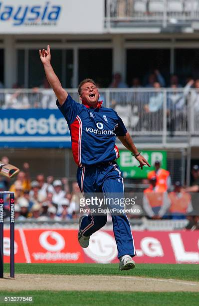 England bowler Darren Gough celebrates taking the wicket of Younis Khan during the NatWest Challenge One Day International between England and...
