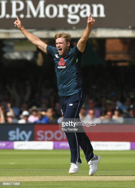 England bowler David Willey celebrates after dismissing Dhawan during the 2nd ODI Royal London One Day International match between England and India...