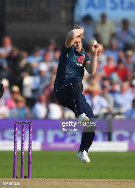 England bowler David Willey in action during the 1st Royal London One Day International match between England and India at Trent Bridge on July 12...