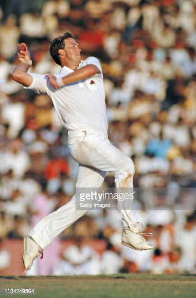 England bowler Derek Pringle bowls during a match on the England B tour of Sri Lanka in 1986