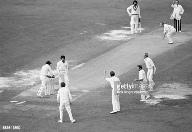 England bowler Derek Underwood traps Pakistan batsman Wasim Bari LBW to close Pakistan's 2nd innings of the 2nd Test match between England and...