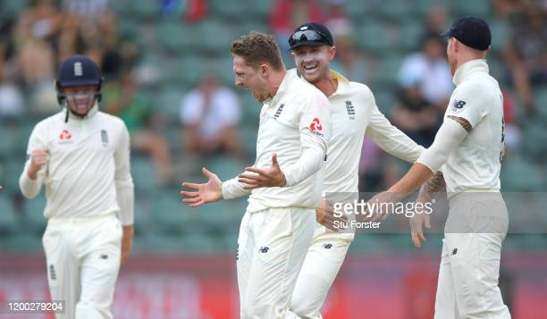 England bowler Dom Bess celebrates after taking the wicket of Faf du Plessis during Day Three of the Third Test between England and South Africa on...