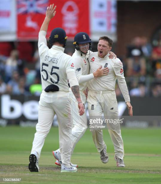 England bowler Dom Bess celebrates after taking the wicket of Rassie van der Dussen for his 5th wicket of the innings during Day Three of the Third...