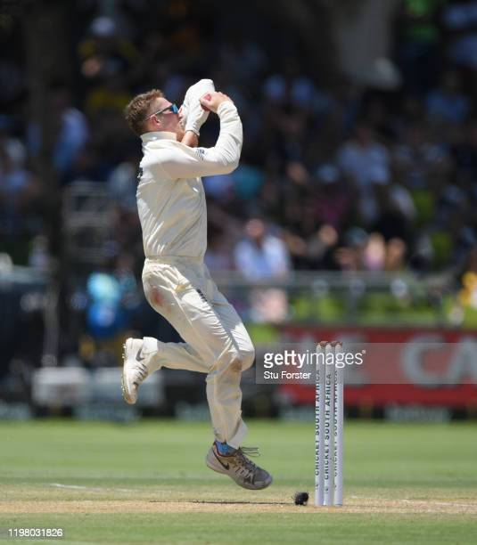 England bowler Dom Bess in action during Day Five of the Second Test between South Africa and England at Newlands on January 07, 2020 in Cape Town,...