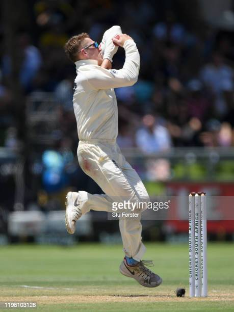 England bowler Dom Bess in bowling action during Day Five of the Second Test between South Africa and England at Newlands on January 07, 2020 in Cape...