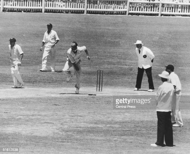 England bowler Frank Tyson in action during the 4th Test against Australia in Adelaide which ran from 28th January 1955 to 2nd February 1955