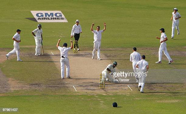 England bowler Graeme Swann and team mates celebrate the wicket of Bangladesh batsman Jahurul Islam during day four of the 2nd Test match between...