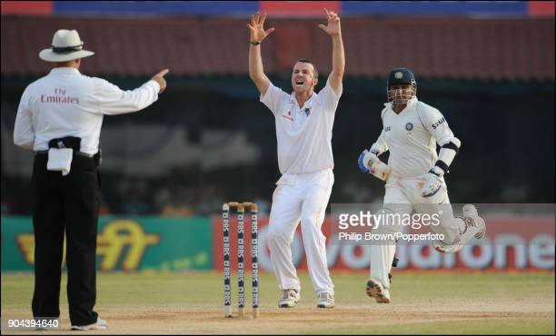 England bowler Graeme Swann appeals successfully for the wicket of Indian batsman Virender Sehwag out LBW for 83 during the 1st Test match between...