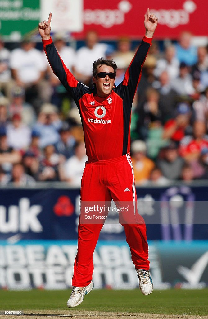 EMBER 20: England bowler Graeme Swann celebrates after taking the wicket of Cameron White during the 7th NatWest ODI between England and Australia at The Riverside on September 20, 2009 in Chester-le-Street, England.