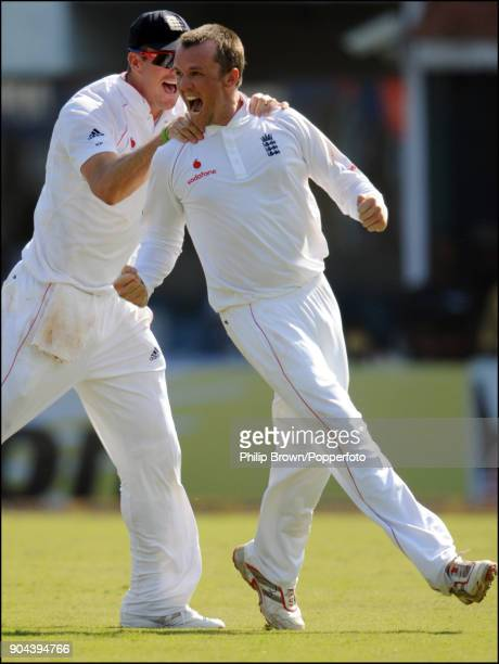 England bowler Graeme Swann celebrates with team mate Kevin Pietersen after taking his second wicket in his first over in Test matches during the 1st...