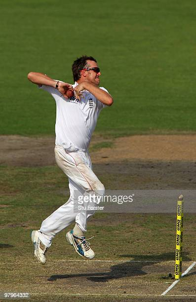England bowler Graeme Swann in action during day four of the 2nd Test match between Bangladesh and England at ShereeBangla National Stadium on March...
