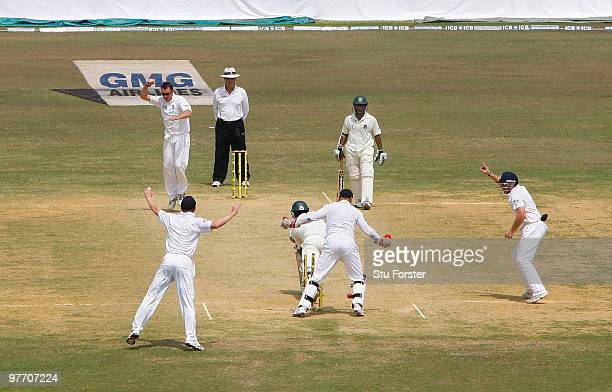 England bowler Graeme Swann takes the wicket of Bangladesh batsman Tamim Iqbal during day four of the 1st Test match between Bangladesh and England...